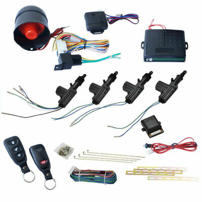 Car Alarm 4 Door Power Remote Keyless Entry Security Lock Actuator Siren Kit