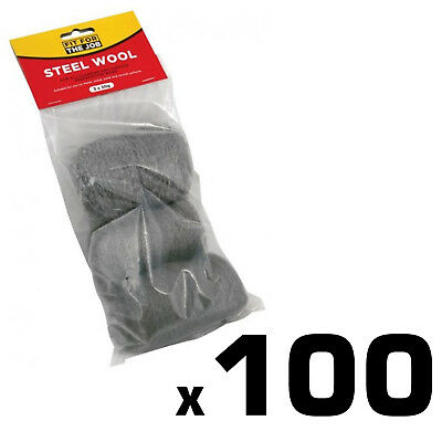 100 x Packs of 3 x 30g Steel Wool Fine Medium Coarse Grade Cleaning Metal Copper