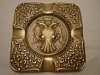 Greece vintage solid brass ashtray w/ Byzantine Double Headed Crowned Eagle #14