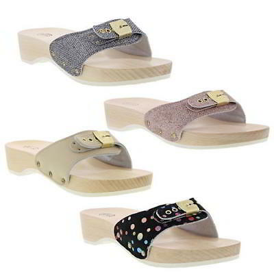 7e525a8b2fa Scholl Pescura Heel Womens Ladies Slip On Wooden Sandals Clogs Size UK 4-8