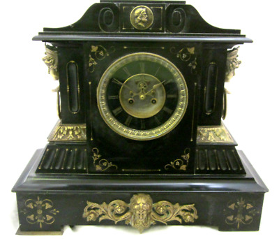 Large Antique Victorian 1860 Belgian Black Marble Slate & Brass Mantel Clock