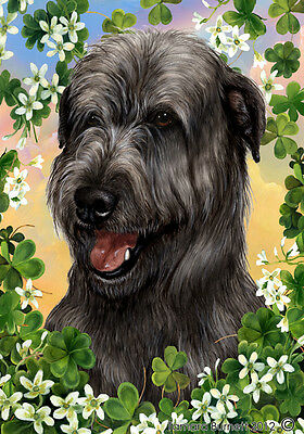 Garden Indoor/Outdoor Clover Flag - Black Irish Wolfhound 311641