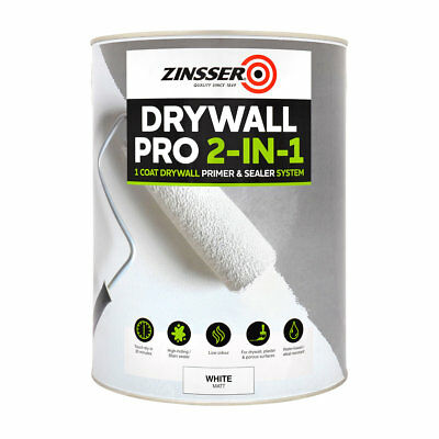 Zinsser Drywall Pro 2 in 1 Primer and Sealer System Multi-Surface White Matt 5L