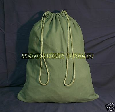 Lot of 2 US Army Military Barracks Bag Cotton Laundry Duffle Tote Storage Bag GC