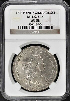 1798 POINT 9 WIDE DATE Draped Bust, Lg Eagle BB-122,B-14 S$1 NGC AU58