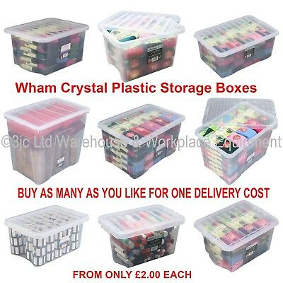 NEW British Made Clear Plastic Storage Box Boxes With Lids CHOICE OF 17 SIZES