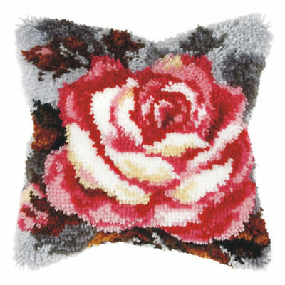 Rose On Grey Latch Hook Cushion Front Kit. Orchidea, 40x40cm Printed canvas