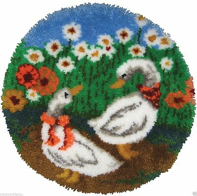 """Geese Latch Hook Kit MCG Textiles 27"""" round. Plain Canvas with Chart"""