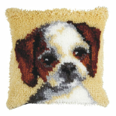 Puppy  (Small) Latch Hook Cushion Front Kit. Orchidea.  25x25cm Printed canvas