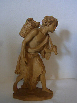 Vintage Italy Carved Wood Anri Man with Basket #S