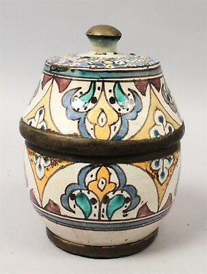 Unusual Brass Mounted 19c+ Antique Middle Eastern Pottery Covered Jar