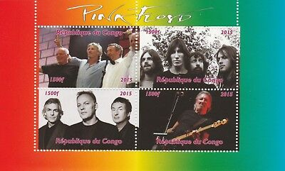 Congo 7461-2015 Kiss #1 Perf Sheetlet Of 4 Values Unmounted Mint Stamps Music