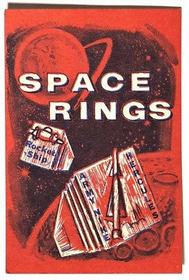 ESA0747. Vintage: SPACE RINGS Red Vending Machine Paper Ad Piece 1960's SCARCE~~
