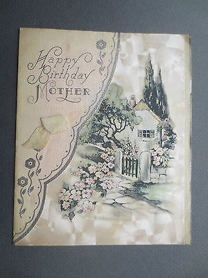 Vintage Birthday Card Old Fashioned Cottage Garden Mother 1930s