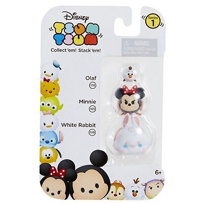 DISNEY 3pc Set TSUM TSUM Collectible Figure OLAF 176+MINNIE 105+WHITE RABBIT 139
