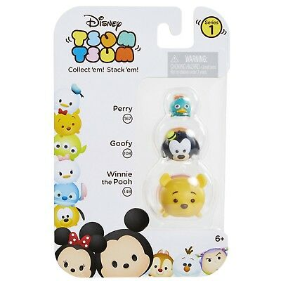 DISNEY 3pc Set TSUM TSUM Collectible Figure PERRY 167+GOOFY 108+WINNIE 148 New!