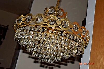 Vintage French Crystal Chandelier  Faceted Crystals  Stunning