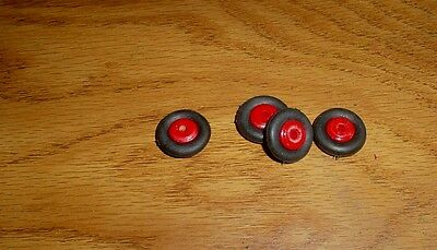 "4  5/8"" Black Rubber  Tires Arcade Hubley Kilgore Dent Etc. On 3/8"" Wood Hub"
