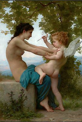 William Bouguereau, Girl Defending Herself Against Eros, Cupid, 20x14 Canvas Art