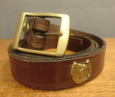 "Vtg Retro Brown Leather Belt Cowboy Style Horse Brasses 60"" mens womens"
