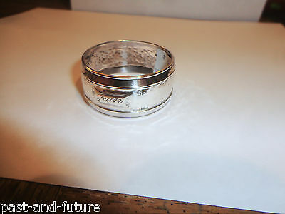 """Sterling Napkin Ring Engraved """"jean""""  3/4"""" X 1 1/2""""  Marked Only Sterling"""