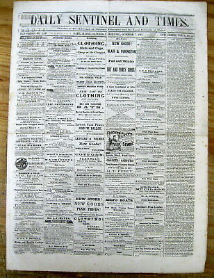 < 2 1865 DISPLAYABLE BATH MAINE newspapers EARLY RECONSTRUCTION ERA Local Ads