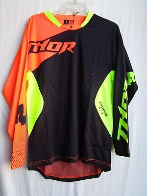 THOR motocross off-road CORE AIR jersey men's SMALL blk/flo org  2910-3481