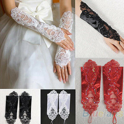 KQ_ Exquisite Bride Wedding Party Dress Fingerless Pearl Satin Bridal Lace Glove