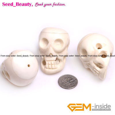 Large Carved Bone Skull Beads for Jewelry Making Decoration Craft in Bulk