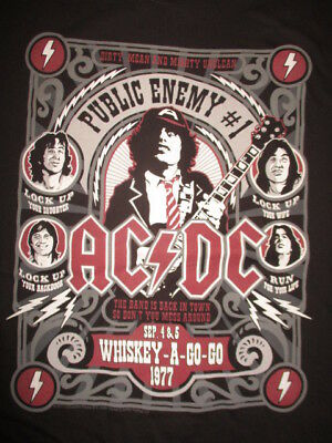 "1977 AC/ DC ""Public Enemy #1"" Whiskey-A-Go-Go (LG) T-Shirt ANGUS / MALCOLM YOUNG"