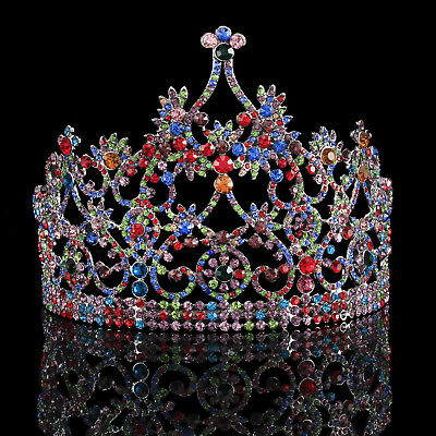 New Baroque Luxury Colorful Wedding Bridal Tiara Gold Diadem Half Crown Headband