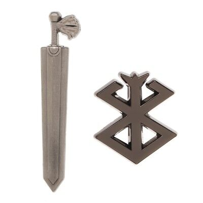 Berserk Guts Dragon Slayer Sword & Brand of Sacrifice Metal Lapel Pin Set Legit