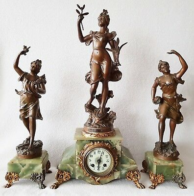 Antique Mantel Clock French S. Marti Et Cie Bronze Statues Signed