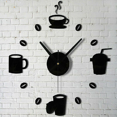 New Coffee Cups Kitchen Wall Art Mirror Clock Watches  Decor  For Living