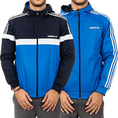 7ee312c52e61 adidas Originals Mens Itasca Reversible Hooded Full Zip Windbreaker Jacket  - Ink