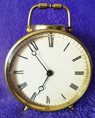 Antique English Clock Carriage Brass Mantel Fully Working Beautful Condition