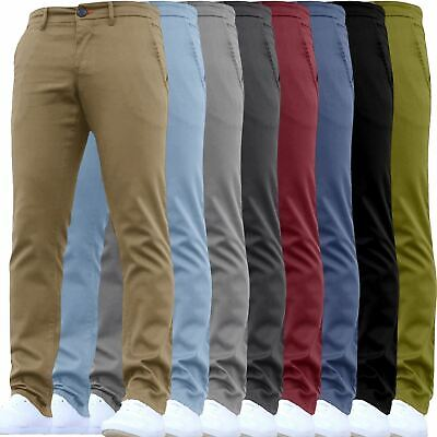 9911947ed41 Mens Skinny Fit Chino Trousers Stretch Casual Jeans WestAce Cotton Designer  Pant