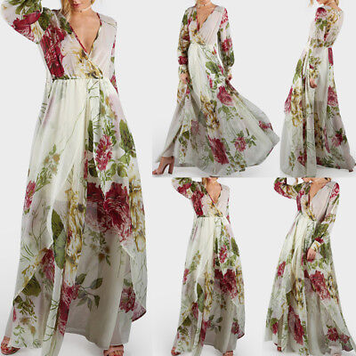 Women Sexy Deep V Neck Boho Floral Long Maxi Dress Cocktail Party Beach Sundress