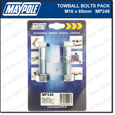 Maypole Towbar Bolts, Nuts & Washer Pack M16 x 65mm Towing Trailer Caravan MP248