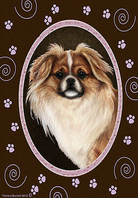 Large Indoor/Outdoor Paws Flag - Parti Tibetan Spaniel 17476