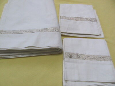 Lovely set of sheet and pillow cases with matching filet crochet lace inserts