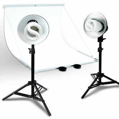 Foldable Studio Lighting Photo Shooting Table Top White Background with 2 Light