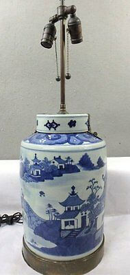 Large Antique Chinese Porcelain Metal Hinged Lid Jar Converted To Lamp