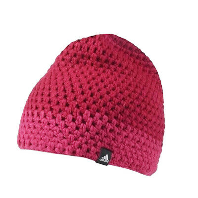 sale retailer 52ae0 9412b adidas Performance Womens Chunky Knit Beanie Hat Crochet Warm Bobble Hat  Pink