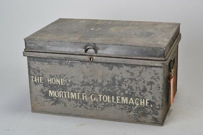Quality Victorian Steel Deed Box. The Hon. Mortimer G. Tollemache. Ref FCS