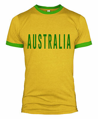 3807f9b6d Australia Text Retro Style Football T Shirt Russia World Cup 2018 Fan Men  L254
