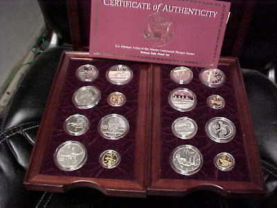 1996 Atlanta Olympic 16 coin Gold+Silver Prooff Set +wood case & COA