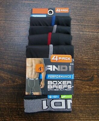 AND1 Boxer briefs 4 pack high performance with mesh fly pouch in 2 sizes NWT