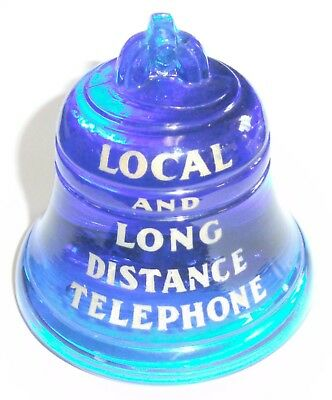 Vintage Original Bell System New York Telephone Company Blue Glass Paperweight