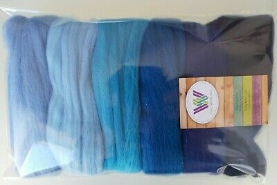 Blue set* 100% Pure Merino Wool Tops for Felting, packs of 6 colours, 60g